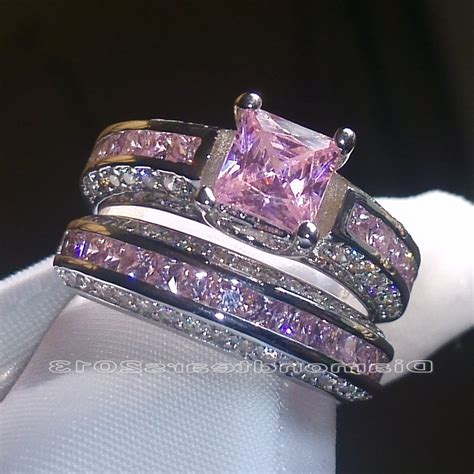 Cincin Jewelry 925 Sterling Silver Princess Cut Sapphire Bridal professional ring wedding promise