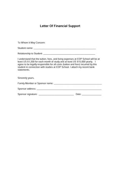 Support Letter Draft 40 Proven Letter Of Support Templates Financial For Grant