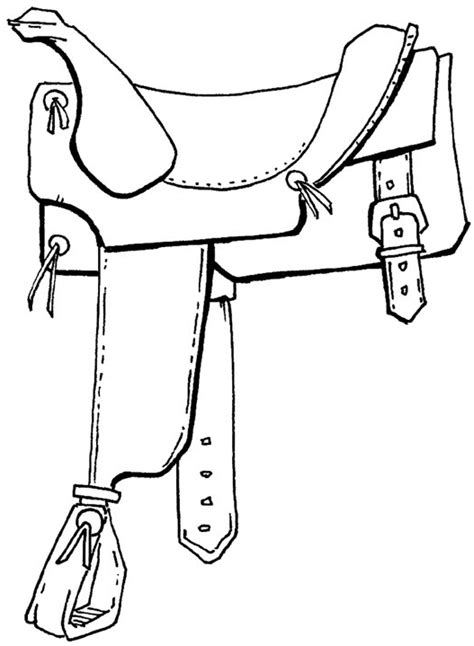 sketch of horse and saddle coloring pages