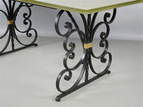 Wrought Iron Glass Top Dining Table 1940s Wrought Iron And Glass Top Dining Table At 1stdibs