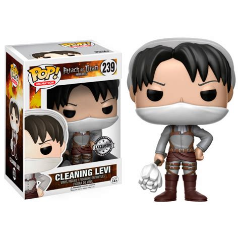 pop vinyl figure attack on titan cleaning levi limited