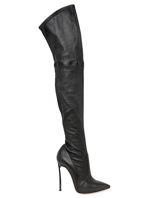 the knee black leather boots casadei 120mm the knee leather boots in black lyst