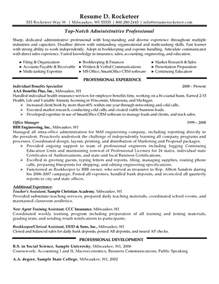 Sles Of Administrative Resumes by Administrative Professional Resume