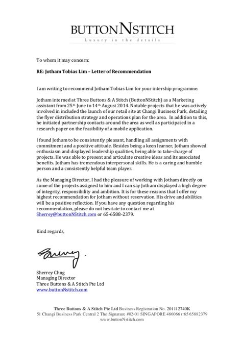 Recommendation Letter Template For Internship Internship Recommendation Letter