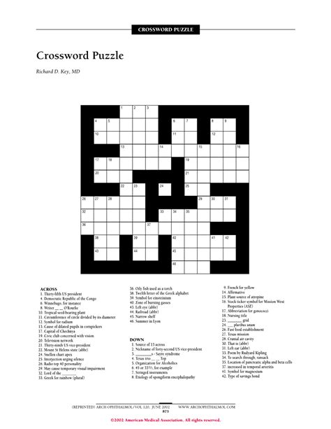 Loan Letters Crossword crossword puzzle jama ophthalmology jama network