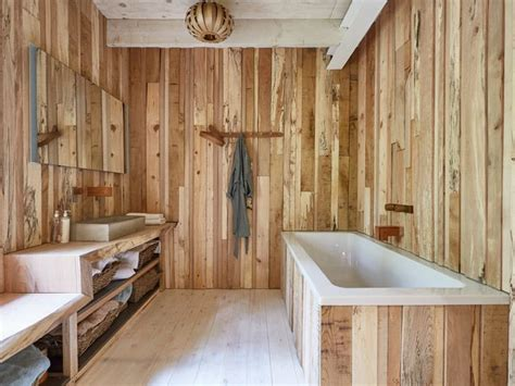 timber wall clad wooden bathroom   steam bent