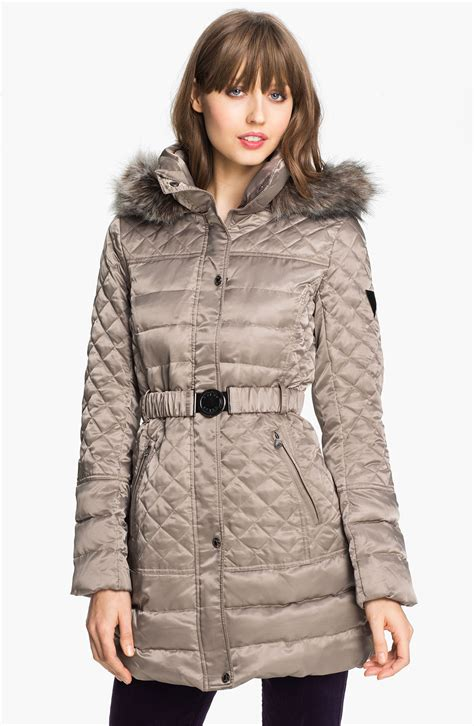 Quilted Fur Jacket by Guess Faux Fur Trim Quilted Satin Jacket Exclusive