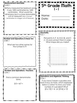 Common Standards Math 5th Grade Worksheets by 5th Grade Common Math In Two Layouts All Standards Tpt