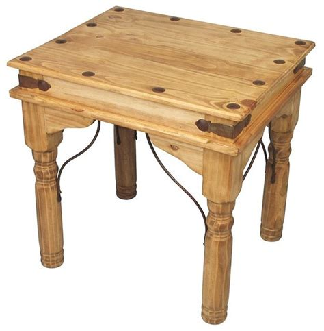 Pine End Tables Mexican Pine End Table With Wrought Iron Traditional Side Tables And End Tables Other