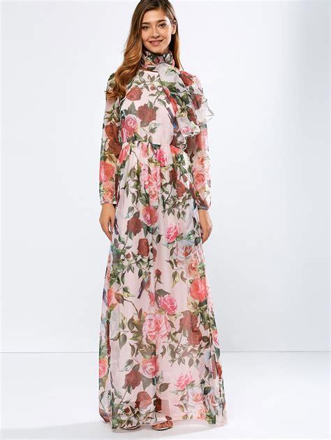 Floral Print Chiffon Dress pink s vintage chiffon sleeve floral print floor