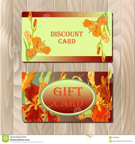 Discount Gift Cards For Sale - discount card printable template with red iris flower design stock vector image