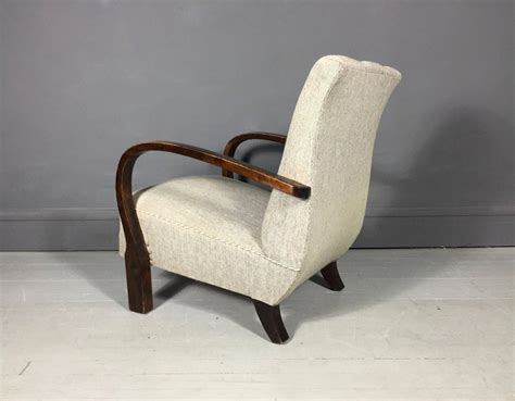 Curved Lounge Chair by Curved Arm Beech Lounge Chair Wool Fabric 1940s