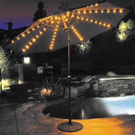 led patio umbrella lights galtech 9 ft aluminum auto tilt sunbrella patio umbrella