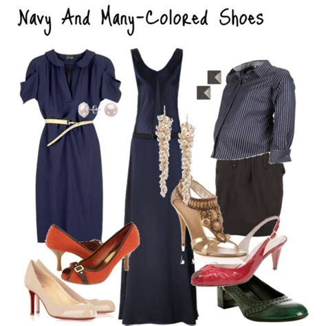 what color shoes to wear with navy polyvore