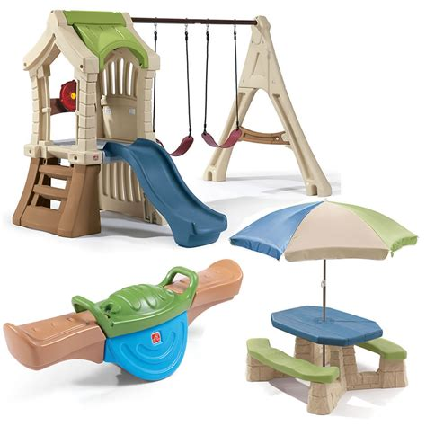 plastic swing sets for toddlers swing and play backyard combo step2