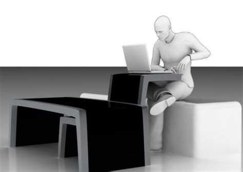 lavoro coffee table doubles as an ergonomic workstation