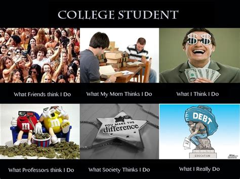 Drunk College Student Meme - college students what people think i do what others