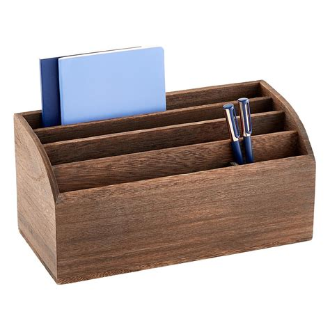 Wooden Desk Organizers Feathergrain Wooden Desktop Organizer The Container Store