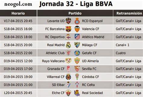 Calendario Liga Espanola Futbol Partidos Jornada 32 Liga Espa 241 Ola Bbva 2015 Neogol