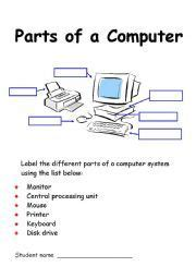 worksheet computer parts computer activity worksheets computer vocabulary crossword exercise read the clues and guess
