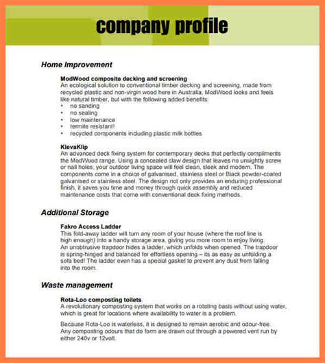 business profile on letterhead 5 sle company profile for small business company