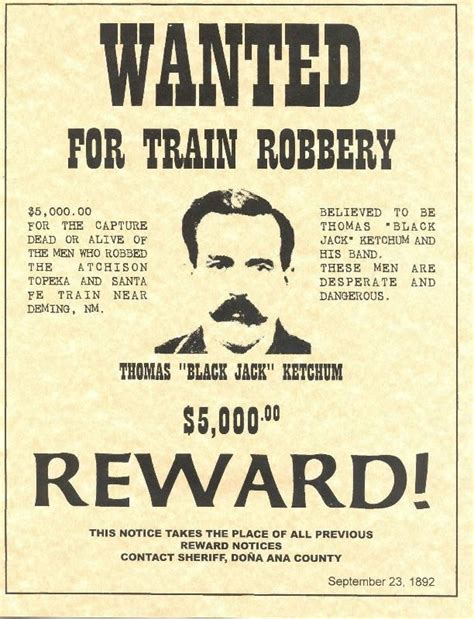 Free Printable Western Wanted Posters Thomas Ketchum A K Free Printable Wanted Poster