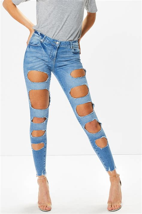light ripped jeans claire light denim multi ripped jeans