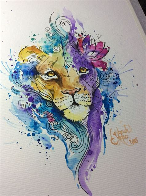 watercolor tattoo watercolor lion for a tattoo artist