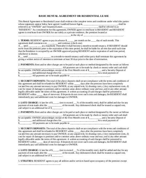 19 Basic Rental Agreement Templates Doc Pdf Free Premium Templates Basic Lease Agreement Template