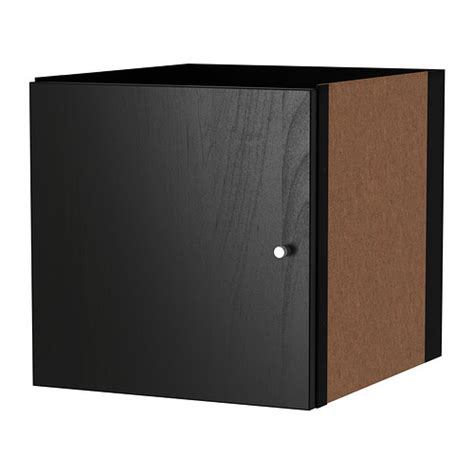 kallax insert with door black brown ikea