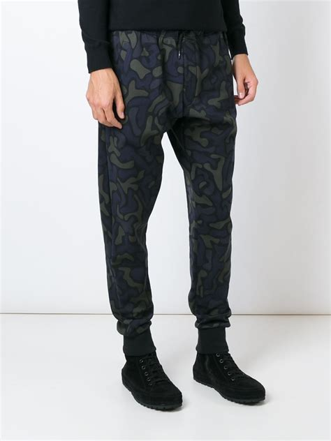 camouflage pattern jeans y 3 camouflage pattern track pants in blue for men lyst