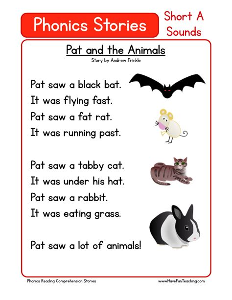 reading comprehension worksheet pat   animals