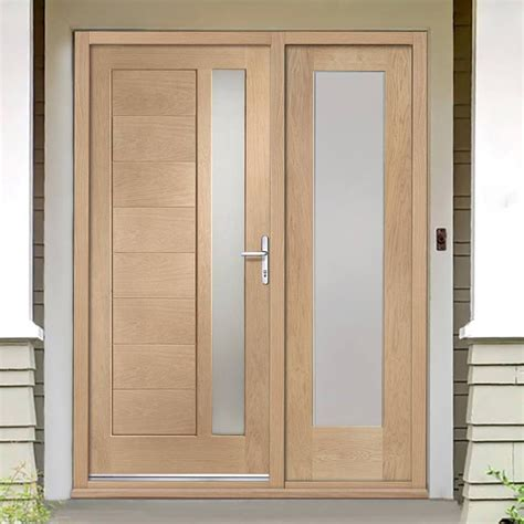 Oak Front Door Sets Modena Exterior Oak Door And Frame Set With One Side Screen And Obscure Glazing