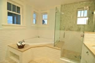 corner tub and shower combo bathrooms