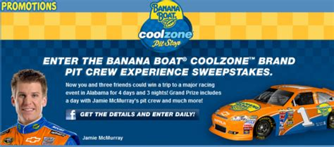 banana boat queen banana boat 174 coolzonetm pit crew experience sweepstakes