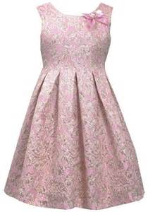 Big girls 7 16 pink gold pleated fit n flare metallic brocade dress