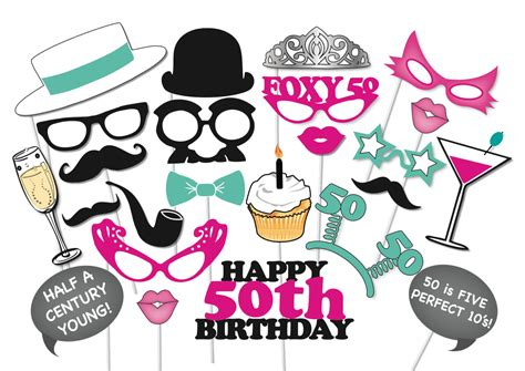 printable photo booth party props 50th birthday photobooth party props set 26 piece printable