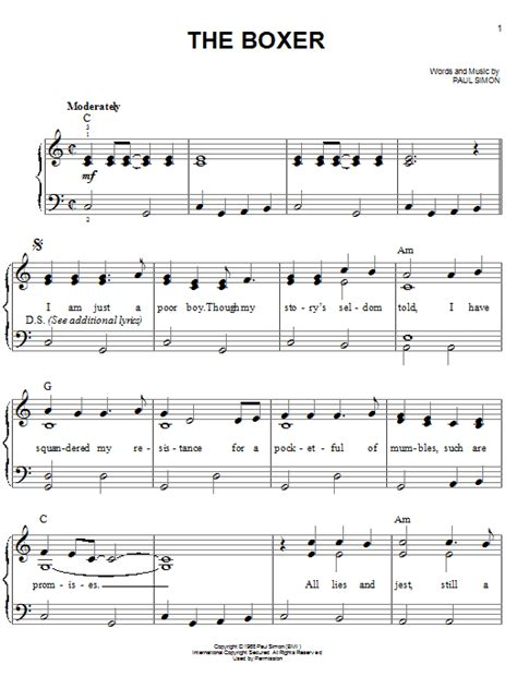 tutorial guitar the boxer the boxer sheet music by simon garfunkel easy piano