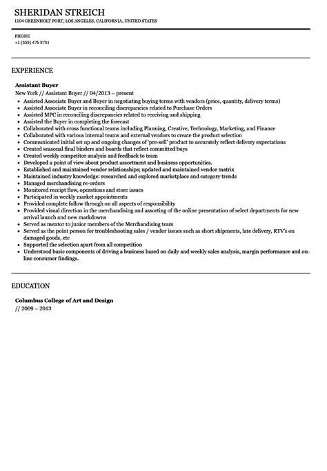 Assistant Buyer Resume by Assistant Buyer Resume Sle Velvet
