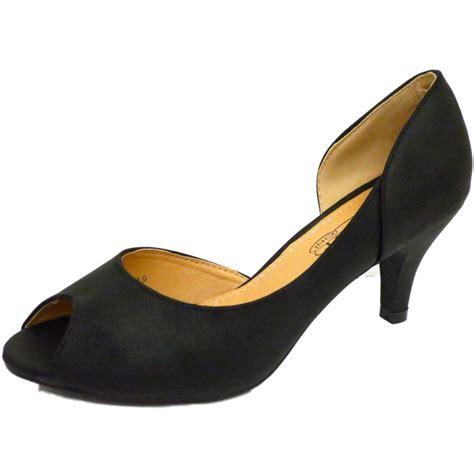 black peep toe slip on kitten mid heel smart court