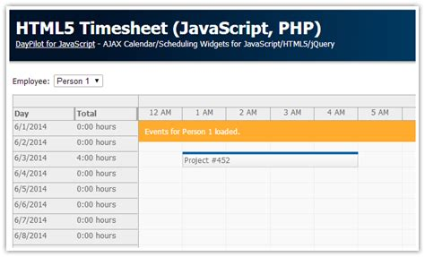 Tutorial Html5 Timesheet Javascript Php Daypilot News Html5 Calendar Scheduler And Php Template Html