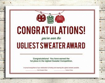 printable ugly sweater certificate no download popular items for sweater awards on etsy