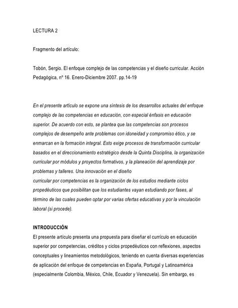 Diseño Curricular Por Competencias Sergio Tobon Tob 243 N El Enfoque Complejo