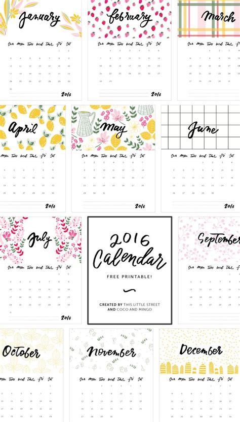 printable calendar 2016 diy 2016 calendar free printable artworks diys and calendar