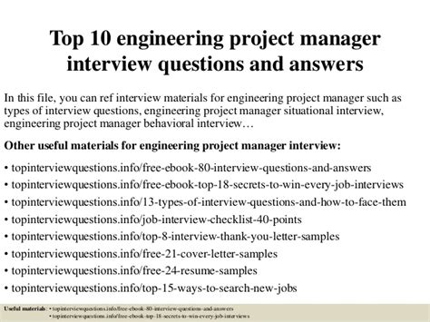 top 10 engineering project manager questions and
