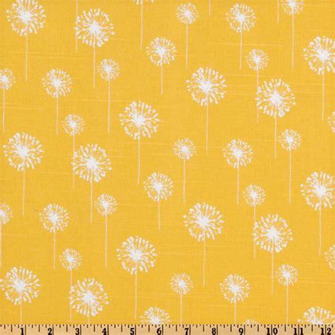 Large Floral Print Upholstery Fabric Premier Prints Small Dandelion Slub Yellow White
