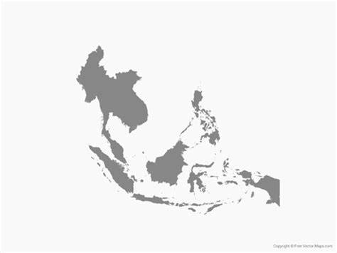 Free Asia Outline Map Vector by Vector Map Of Southeast Asia Single Color Free Vector Maps