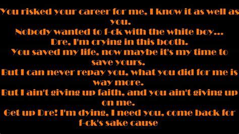 eminem i need a doctor lyric dr dre feat eminem i need a doctor lyrics youtube