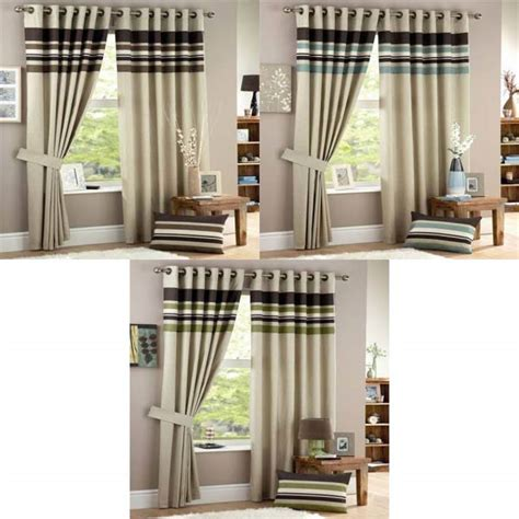 harvard eyelet curtains curtina harvard stripe print eyelet lined curtains ebay