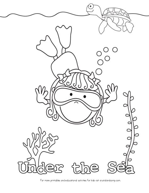 coloring page of under the sea free coloring pages of for under water theme